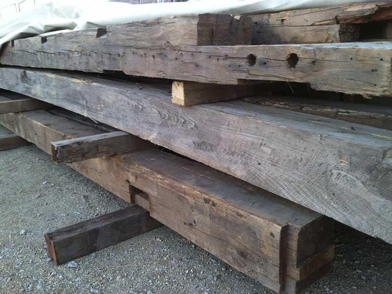 Hand Hewn Reclaimed wood beams